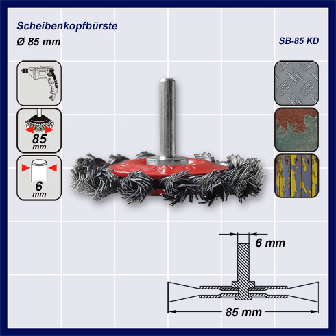 drahtb rste scheibenkopfb rste f r bohrmaschine schaft 6 mm gezopft 85 mm. Black Bedroom Furniture Sets. Home Design Ideas